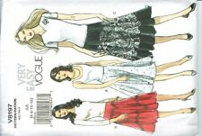 Vogue V8197 Full Skirt in 3 Styles Chevron Stripe Size 6-8-10-12