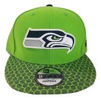 New Era Seattle Seahawks NFL Sideline 9Fifty Lime Green Snapback Cap Hat New