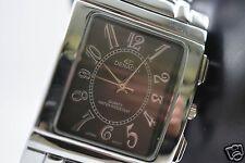 Denacci Mens Silver Tone Bracelet/Black Dial