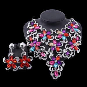 Women Crystal Flower Necklace Earring Party Bridal Dinner Dress Jewelry Set