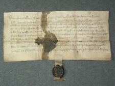 RARE Vellum Medieval Manuscript Indenture w/ Original Wax Seal, Dated 1357