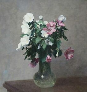 White and Pink Mallows in a Vase by Henri Fantin-Latour Giclee Canvas Print