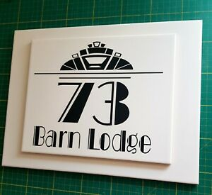 ART DECO LARGE 2D PERSONALISED HOUSE NUMBER SIGN CERAMIC SIGN ANY NUMBER