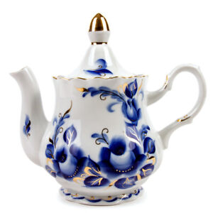 800 ml White Porcelain Teapot w/ Floral Pattern by Dobrush, Belarus TATIANA