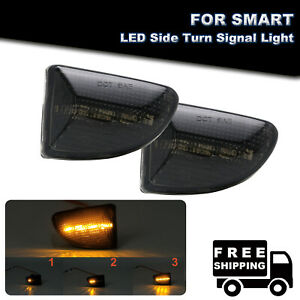 Sequential Smoked LED Side Marker Lights For 2007-2015 Smart Fortwo 451 MK1 MKII