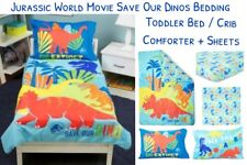 4-piece JURASSIC WORLD Movie Dinosaur Toddler Bed COMFORTER +SHEETS SET Crib Cot