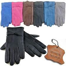 LADIES WOMENS LEATHER GLOVES FLEECE LINED DRIVING SOFT GENUINE WINTER BOW WARM