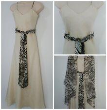 Michel Ambers Designer Beige Linen Maxi Dress & Silk Wrap Size 10 BNWT