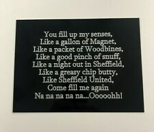 Sheffield United Greasy Chip Butty Song - Engraved Plaque for SUFC Signed Frames