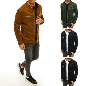 Wildlederjacke Übergangsjacke Jacke Kunstlederjacke Casual Herren Dstreet