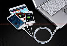 White USB Data Cable Line SYNC Charger Adapter For 6 Lines iPhone 4/4S 5S