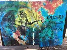 Unique Large Crosby Stills and Nash Tie Die Fabric Painting/Mural