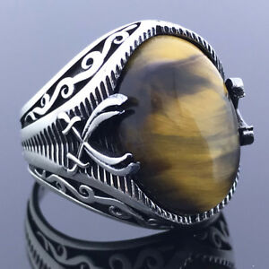 Solid 925 Sterling Silver Zulfiqar Sword Oval Tiger's Eye Stone Men's Ring