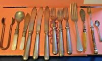 Cutlery-Silver Plated-Madreperola-Bone-Spoons-Forks-Knives-Lot 13xPieces-Vintage