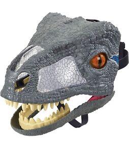 Chomp & Roar Blue Velociraptor Mask Sound/Moving  Jurassic World 2017 Mattel