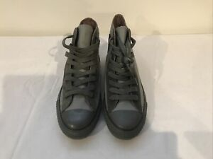 New Converse All Star Chuck Taylor High Top Gray Leather Shoes Size M-7; W-9