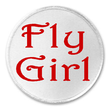 """Fly Girl - 3"""" Sew / Iron On Patch Funny Joke Humor Gift Present Cool Dope Rad"""