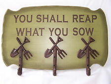 Rustic YOU SHALL REAP WHAT YOU SOW Wood Wall Rack with 3 Garden Tool Hooks NEW