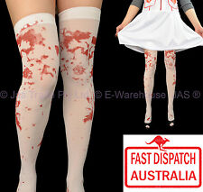 Fancy Dress Tights Halloween Costume Doctor Nurse Blood Stained Stockings WHITE