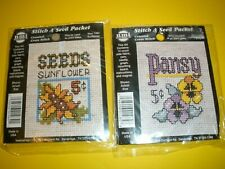 PANSY SUNFLOWER NMI Stitch A Seed Packet Counted Cross Stitch Kit Lot of 2