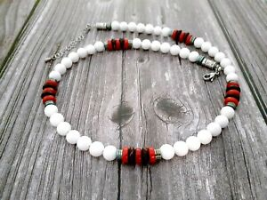 Men Necklace White Jade Hematite Red Turquoise Brown Coconut Natural Bead
