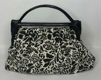 Vintage Black White Floral Print Fabric Handbag Purse with Wood Handle