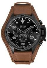 GUESS W0480G2 Rover Chronograph Cuff Watch for Men with Brown Leather Strap