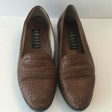 Amalfi Womens Italian Brown Leather Loafers 7.5 B Slip On Shoes Weave Flats