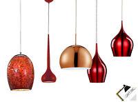 Pendelleuchte Lampe Rot Kupfer Hängelampe Deckenlampe Glas Metall LED Leuchte