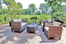 Garden Pleasure Lounge Set Garten Sitzgruppe Sofa Sessel Tisch Rattan Optik brau