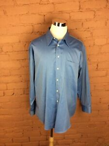 Men's Joseph & Feiss Dress Shirt Long Sleeve Blue Size 18 34/35 One Pocket A-46