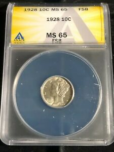1928-P Mercury Dime ANACS MS-65 Full split Bands Very Nice