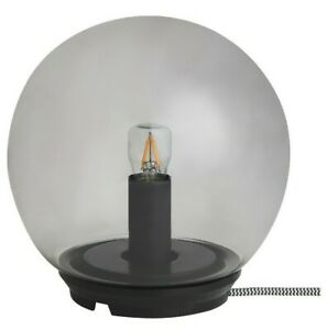 "Ikea FADO Table Lamp Glass Gray Orb Light 6 3/4"" New (Bulb Included)"