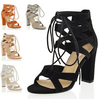 NEW WOMENS LACE UP BLOCK MID HIGH HEEL CHUNKY LADIES CUT OUT SANDALS SHOES