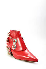 Toga Pulla Womens Embellished Western Ankle Boots Red Leather Size 38 8