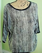 Women Junior Blouse Story 3/4 sleeve  Size Large Color Black & Animal Print