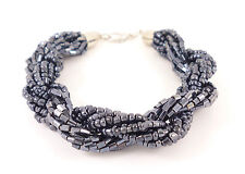 Rope Retro Dark Blue Bead Statement Silver Costume Jewellery Bracelet