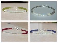 "Natural Sapphire,Ruby,Ethiopian Opal Gem's Beaded Bracelet 925 Silver Clasp 7.5"""