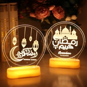 Eid Mubarak Night Light Ramadan LED Lights Muslim Islam Table Party Decoration