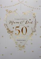 Mum & Dad Golden 50th Wedding Anniversary Card