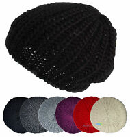 Womens Beret Hat with Lurex Thread Ladies Knitted Beanie Winter One Size Acrylic