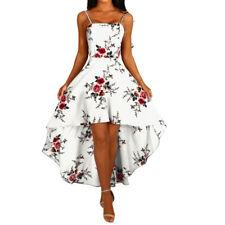 NE_ WOMEN FLORAL PRINT FRONT SHORT BACK LONG SLEEVELESS BACKLESS BANDAGE DRESS