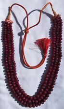 "Necklace Ruby 3 String 18"" Earth Mined Carved Bead Approx 6-9mm E369/71."
