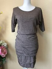Athleta Ruched Purple Gray Dress Short Sleeve Sz Small
