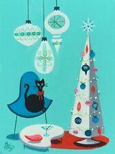 EL GATO GOMEZ RETRO VINTAGE CHRISTMAS HOLIDAY MID CENTURY MODERN EAMES CAT 50'S
