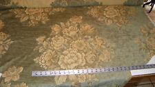Green Beige Flower Print Chenille Upholstery Fabric  1 Yard  R281