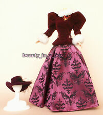 Maroon Cranberry Winter Outfit Velvet Brocade Victorian Fashion for Barbie Doll