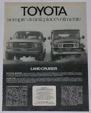 Advert Pubblicità 1982 TOYOTA LAND CRUISER BJ 40 / STATION WAGON SERIE 60