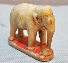 Original Old Antique Fine Hand Carved White Marble Elephant Figurine