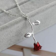 RED ROSE FLOWER  pendant STERLING SILVER necklace chain women mom FREE $10 GIFT